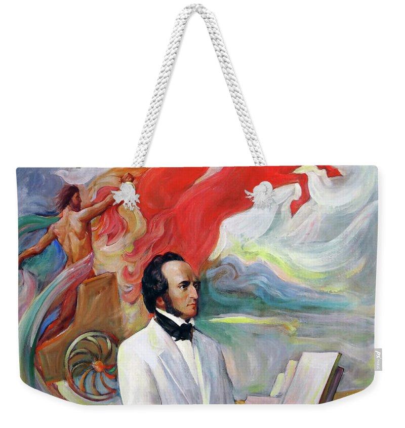 Mendelssohn Weekender Tote Bag featuring the painting Composer Felix Mendelssohn by Svitozar Nenyuk