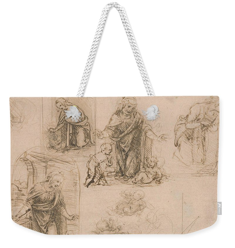 Leonardo Da Vinci Weekender Tote Bag featuring the drawing Compositional Sketches For The Virgin Adoring The Christ Child by Leonardo Da Vinci
