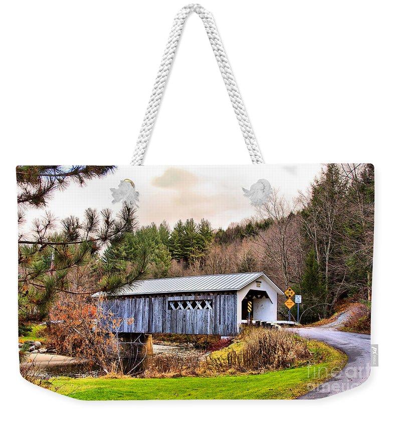 Bridge Weekender Tote Bag featuring the photograph Comstock Bridge Montgomery by Deborah Benoit