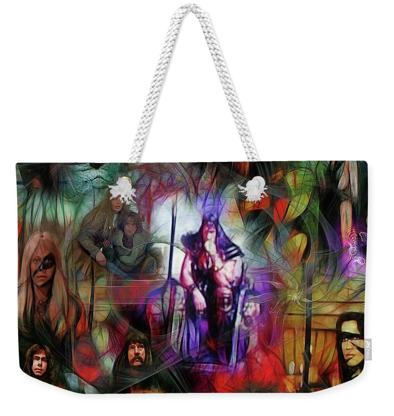 Conan The Barbarian Weekender Tote Bag featuring the digital art Conan The Barbarian Collage - Square Version by John Robert Beck