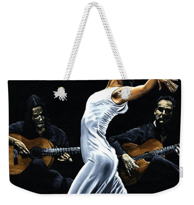 Flamenco Weekender Tote Bag featuring the painting Concentracion Del Funcionamiento Del Flamenco by Richard Young