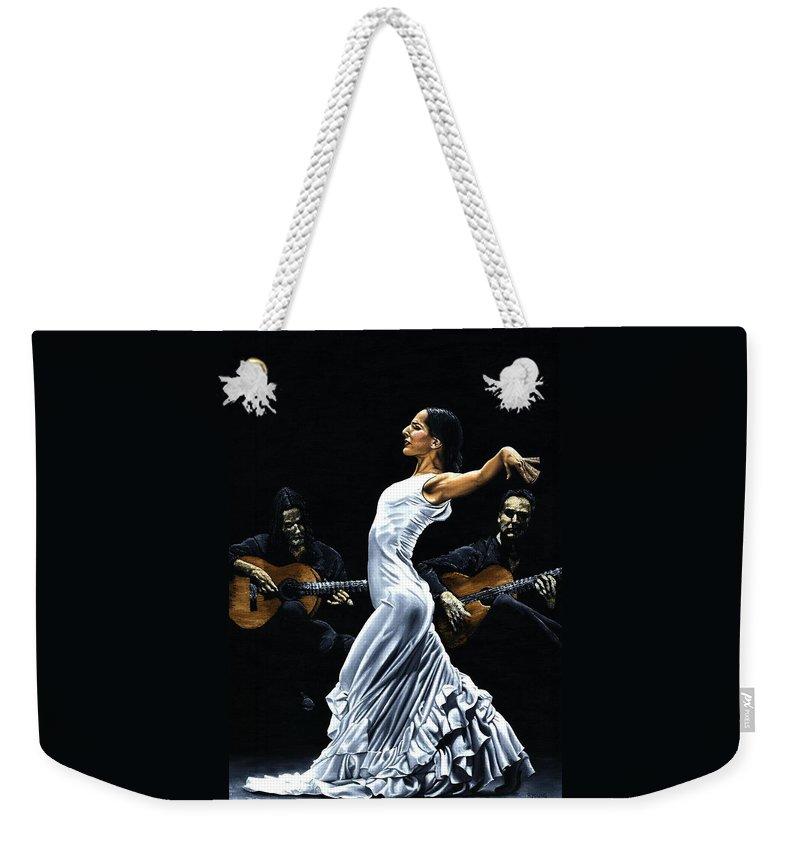 Flamenco Weekender Tote Bag featuring the painting Concentracion del Funcionamiento del Flamenco by Richard Young