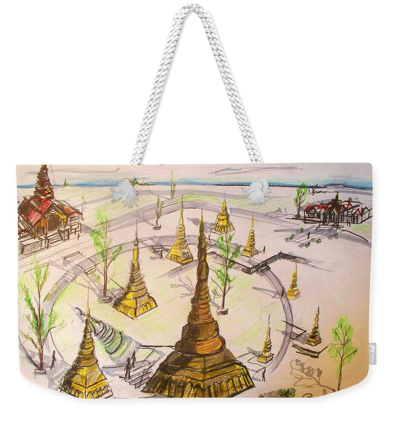 Concept Weekender Tote Bag featuring the drawing Concept Drawing by Eric Schiabor