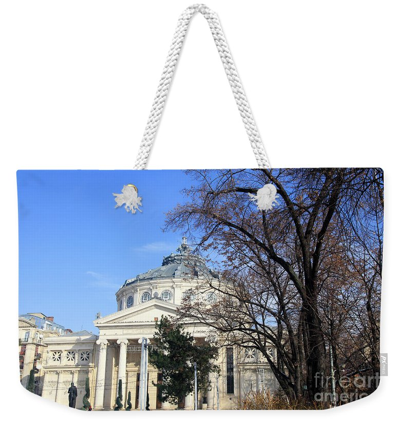 Bucharest Weekender Tote Bag featuring the photograph concert hall in Bucharest, Romania by Vladi Alon