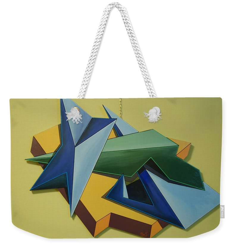 Conceptual Art Weekender Tote Bag featuring the painting Concezione Volumetrica 3 by Maurizo Saletti alias MAUS