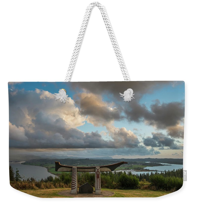 Astoria Weekender Tote Bag featuring the photograph Comcomly's Concrete Canoe by Robert Potts