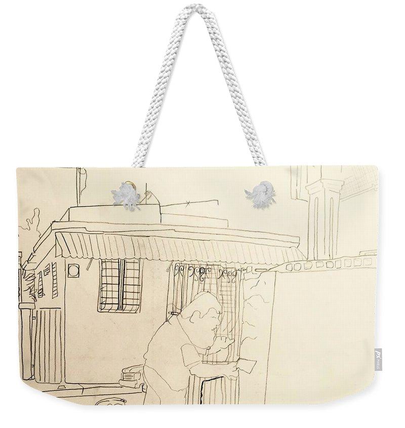 Puerto Rico Weekender Tote Bag featuring the drawing Worker by Felix Ortiz