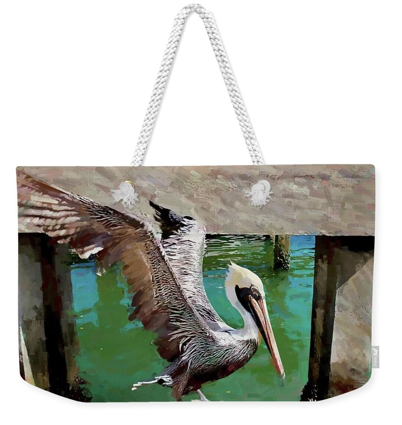 Alicegipsonphotographs Weekender Tote Bag featuring the photograph Concrete Pelican by Alice Gipson