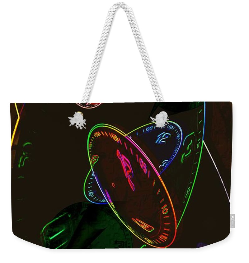 Clocks Weekender Tote Bag featuring the digital art Concurrent Clocks by Helmut Rottler