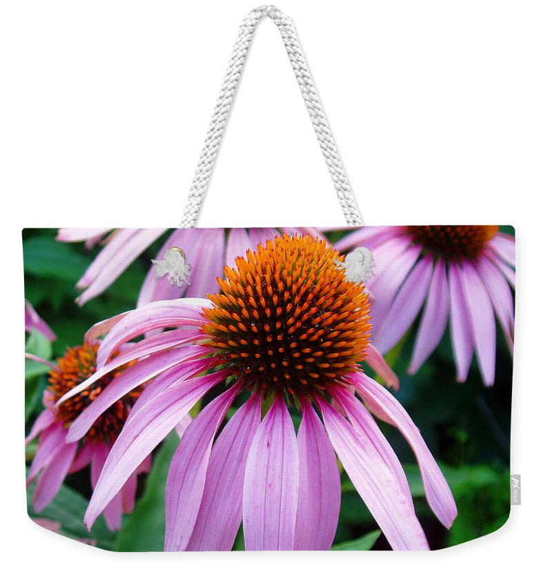 Coneflowers Weekender Tote Bag featuring the photograph Three Coneflowers by Nancy Mueller