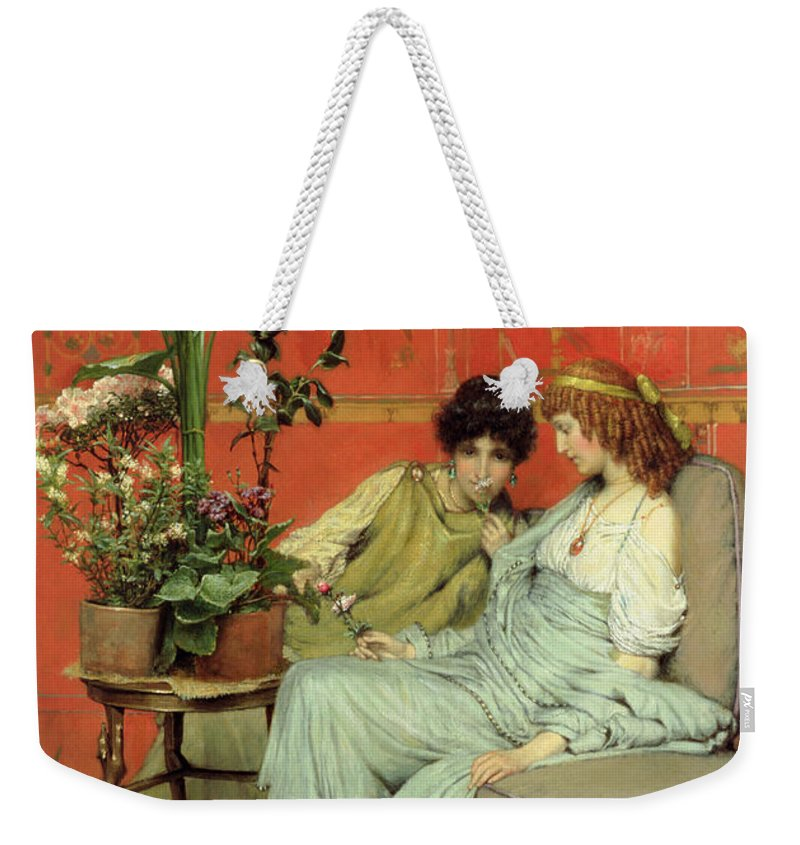 Confidences Weekender Tote Bag featuring the painting Confidences by Sir Lawrence Alma-Tadema