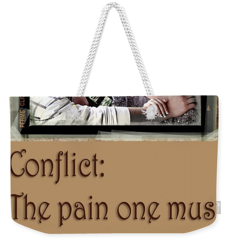 Clay Weekender Tote Bag featuring the photograph Conflict by Clayton Bruster