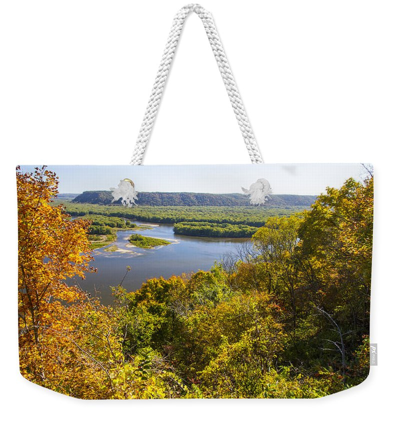 Mississippi River Weekender Tote Bag featuring the photograph Confluence Of Mississippi And Wisconsin Rivers by Garry McMichael
