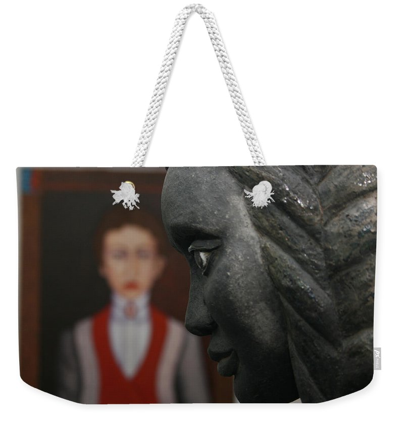 Pais Abril Weekender Tote Bag featuring the photograph Confrontation Of Two Artworks by Madalena Lobao-Tello
