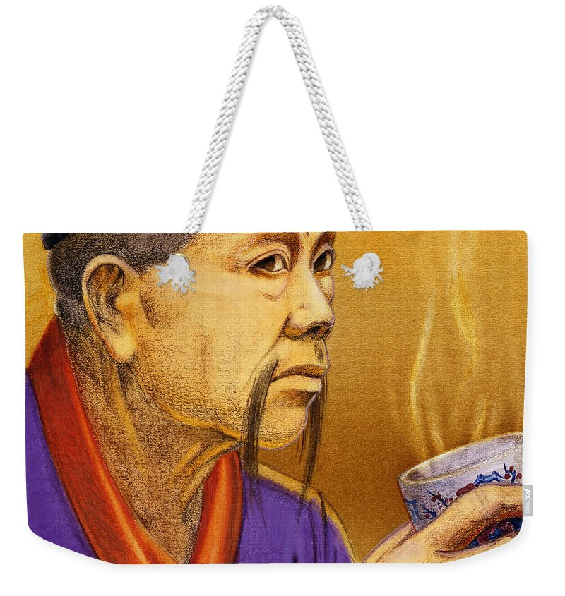 Oriental Weekender Tote Bag featuring the painting Confucian Sage by Melissa A Benson