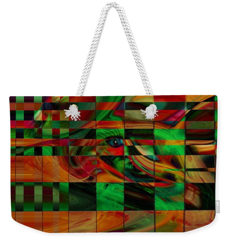 Abstract Art Weekender Tote Bag featuring the digital art Confusion by Linda Sannuti