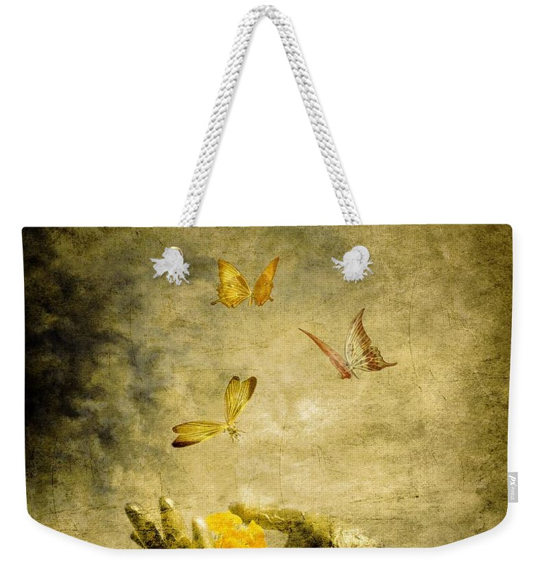 Inspirational Weekender Tote Bag featuring the painting Connect by Jacky Gerritsen
