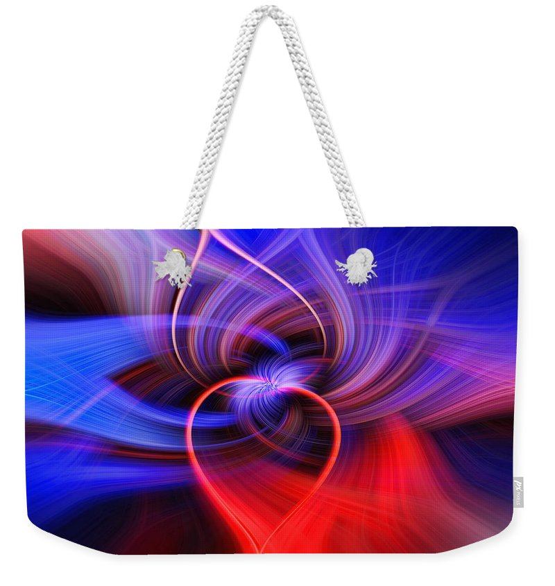 Abstract Weekender Tote Bag featuring the photograph Connected Hearts by Tom Weisbrook