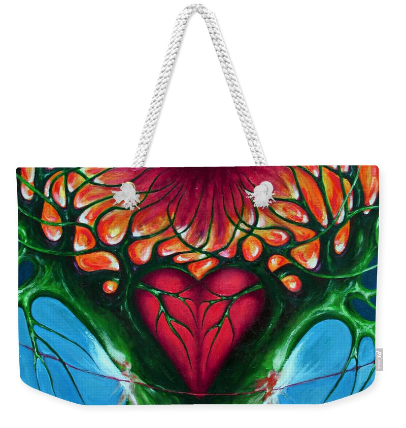 Colour Weekender Tote Bag featuring the painting Connection - Separation by Wojtek Kowalski