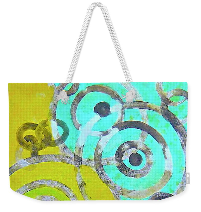 Abstract Weekender Tote Bag featuring the painting Connection by Wonju Hulse