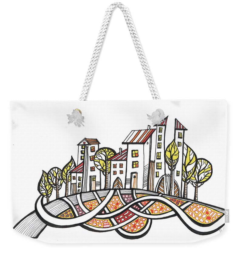 Houses Weekender Tote Bag featuring the drawing Connections by Aniko Hencz