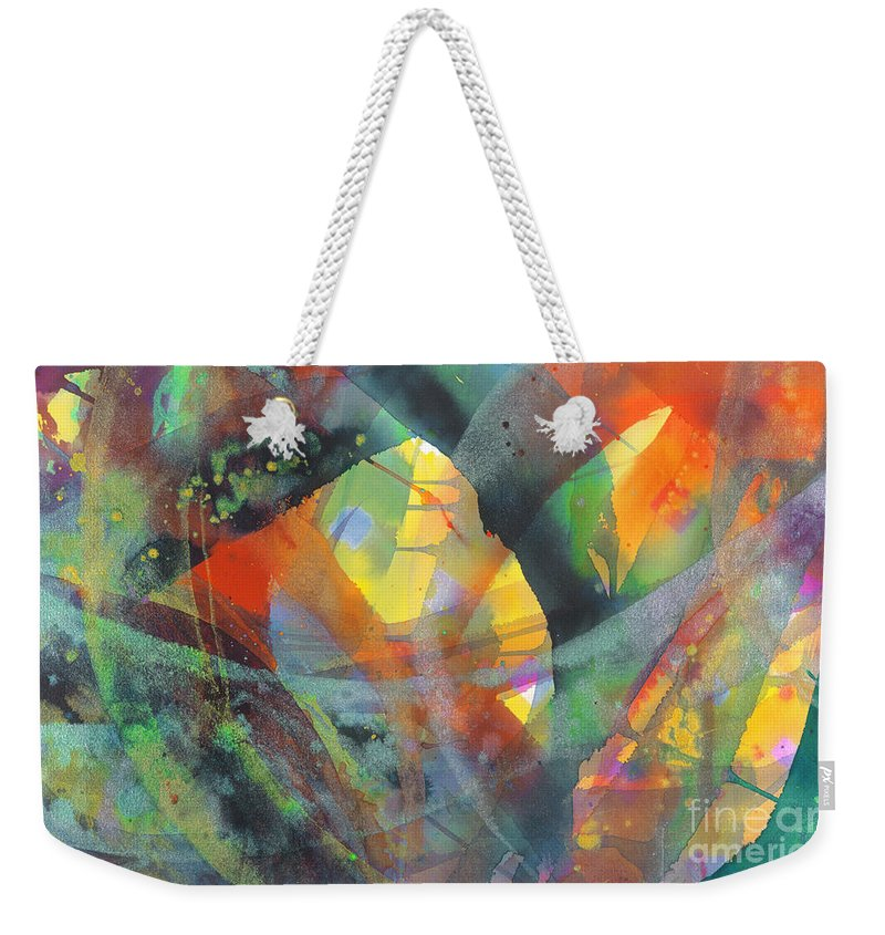 Abstract Weekender Tote Bag featuring the painting Connections by Lucy Arnold