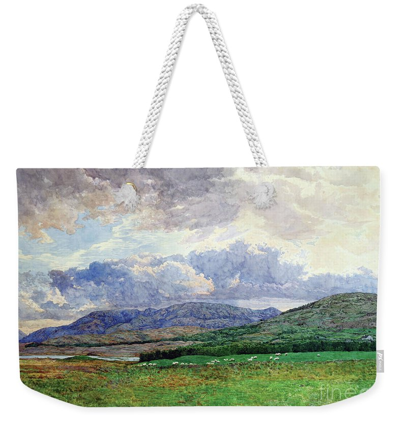 Landscape Weekender Tote Bag featuring the painting Connemara Mountains by Simon Kozhin