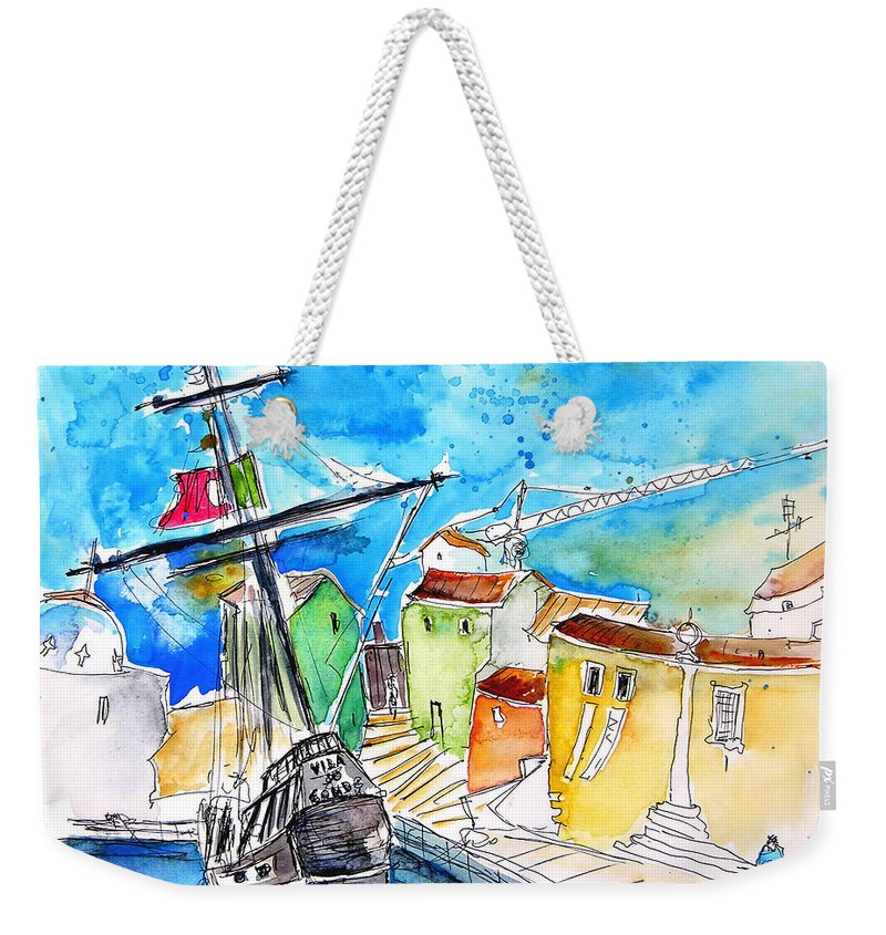 Portugal Weekender Tote Bag featuring the painting Conquistador Boat In Portugal by Miki De Goodaboom