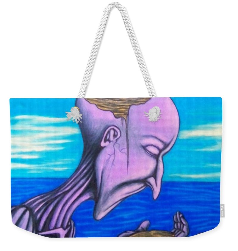Michael Weekender Tote Bag featuring the drawing Conscious Thought by Michael TMAD Finney