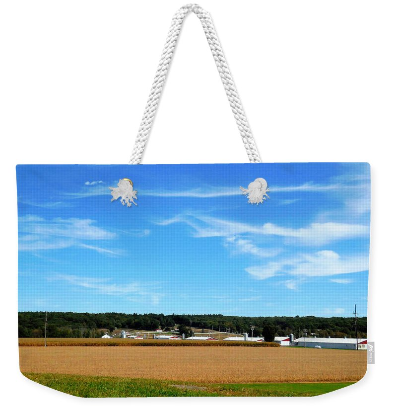 Conservation Farm Weekender Tote Bag featuring the painting Conservation Farm 1 by Jeelan Clark
