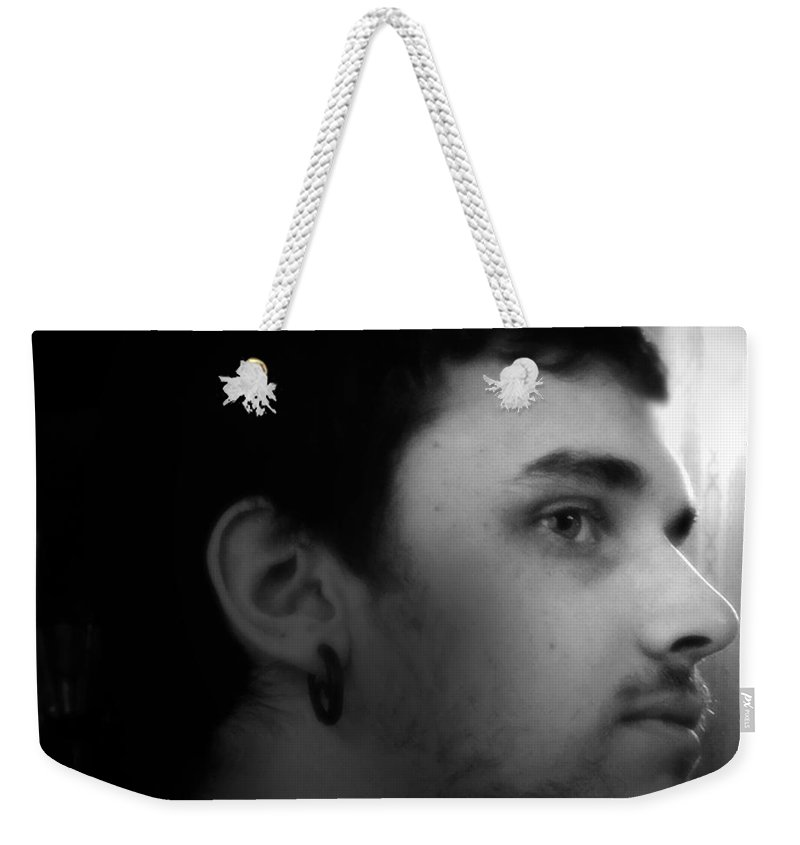 Black And White Weekender Tote Bag featuring the photograph Considering His Reply by RC DeWinter