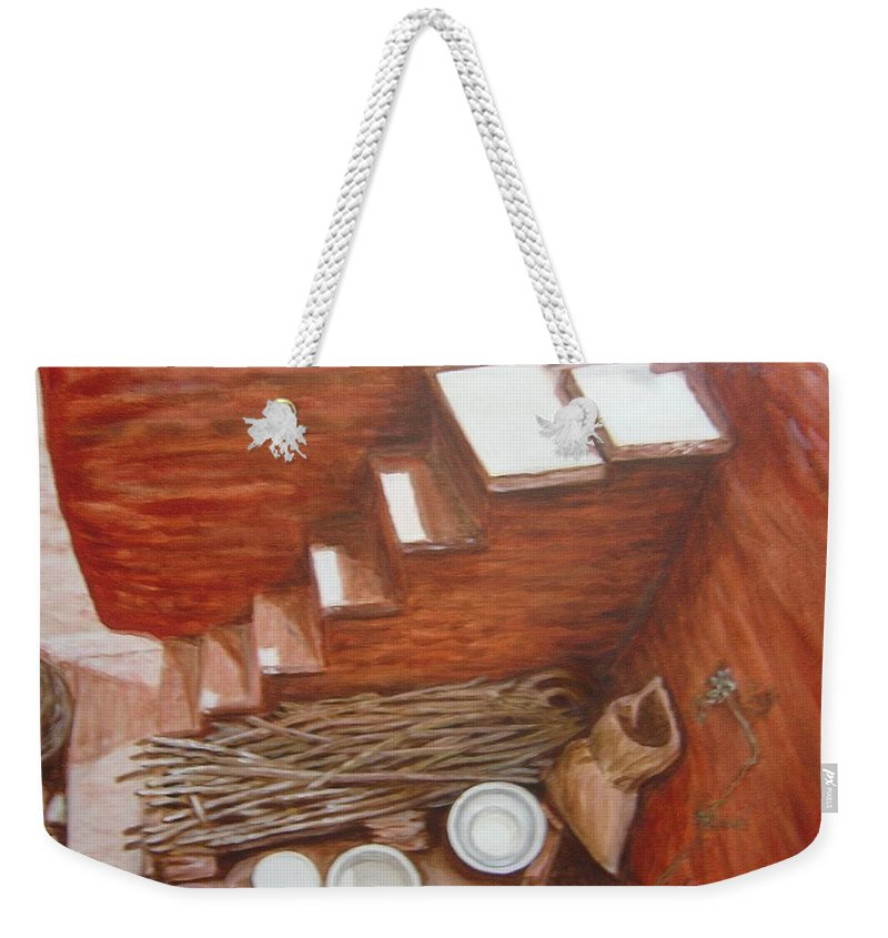 Construction Weekender Tote Bag featuring the painting Construction Site 2 by Usha Shantharam