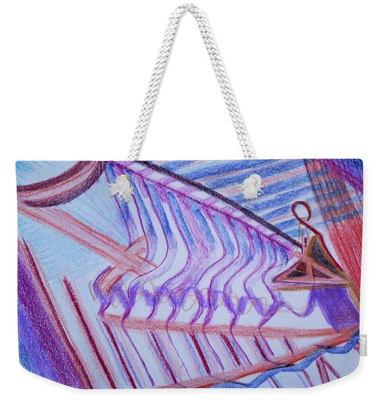 Abstract Weekender Tote Bag featuring the painting Construction by Suzanne Udell Levinger