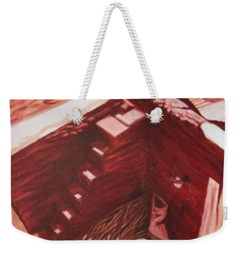 Construction Weekender Tote Bag featuring the painting Constuction Site 1 by Usha Shantharam