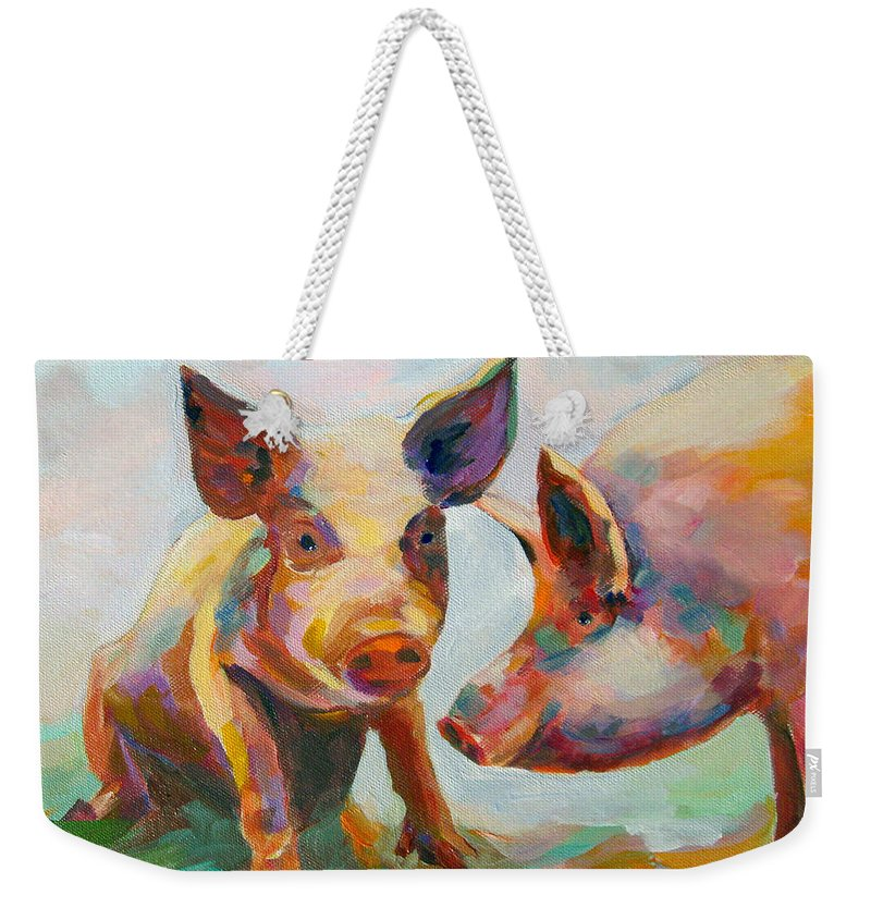 Pigs Weekender Tote Bag featuring the painting Consultation by Naomi Gerrard