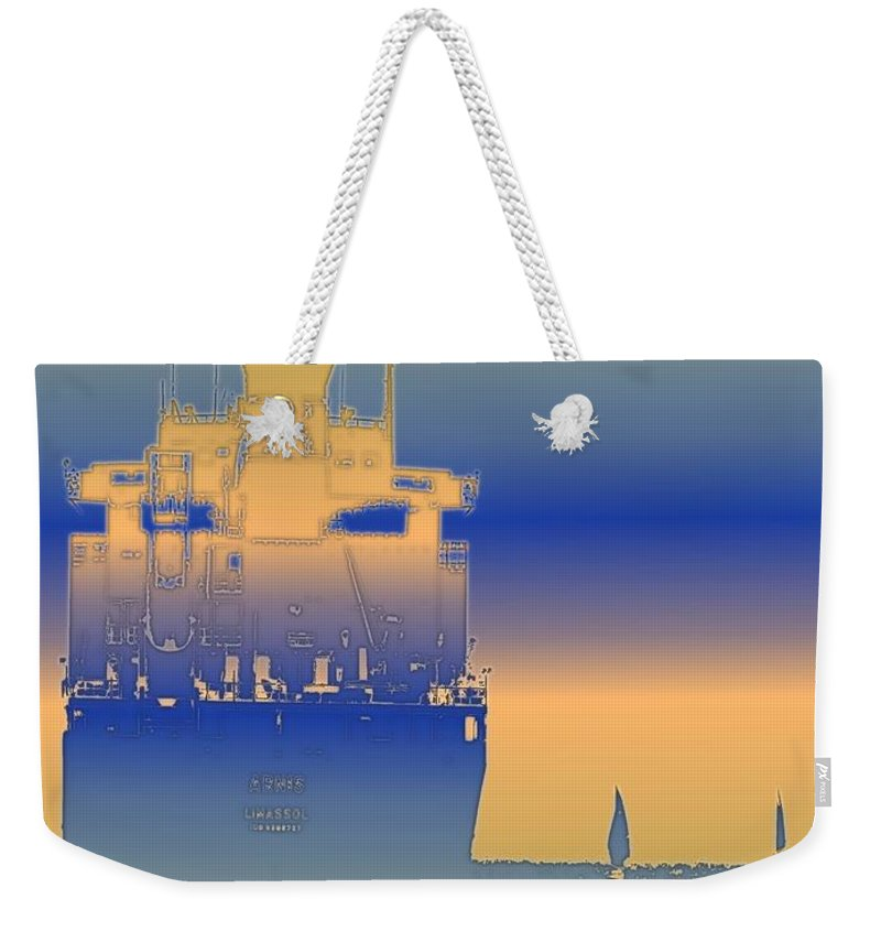 Puget Sound Weekender Tote Bag featuring the photograph Container Sail 2 by Tim Allen