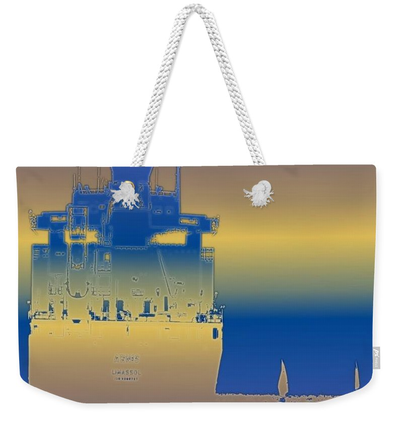 Puget Sound Weekender Tote Bag featuring the photograph Container Sail 3 by Tim Allen