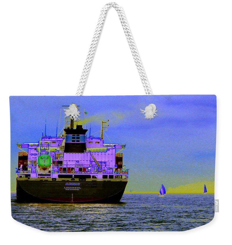 Seattle Weekender Tote Bag featuring the photograph Container Sail by Tim Allen