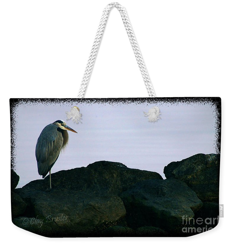 Clay Weekender Tote Bag featuring the photograph Contemplating Heron by Clayton Bruster