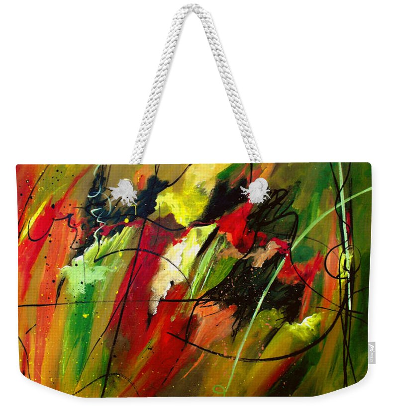 Abstract Weekender Tote Bag featuring the painting Contemplating Perseverance by Ruth Palmer