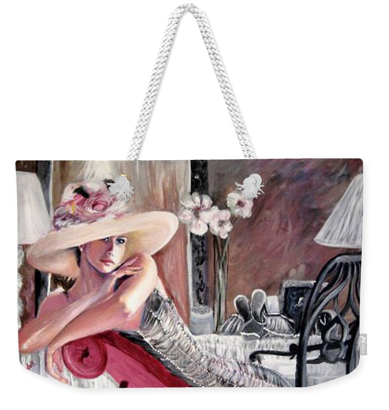 Figurative Weekender Tote Bag featuring the painting Contemplation by Tina Swindell