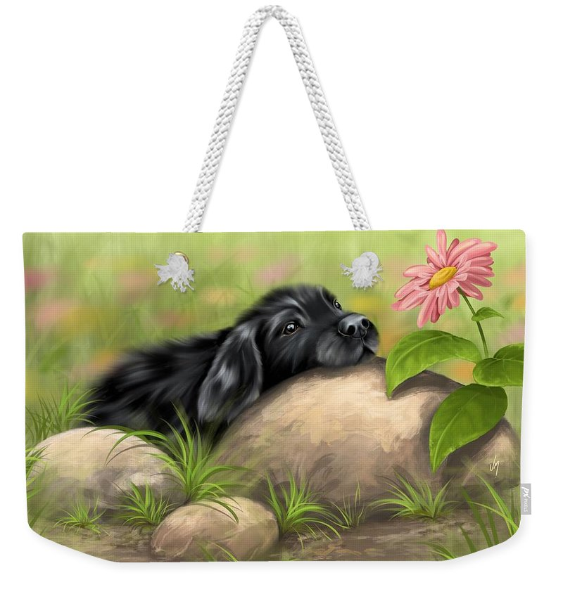 Dog Weekender Tote Bag featuring the painting Contemplation by Veronica Minozzi