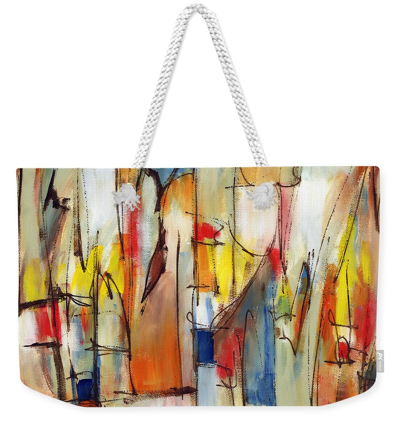 Abstract Weekender Tote Bag featuring the painting Contemporary Art Eight by Lynne Taetzsch