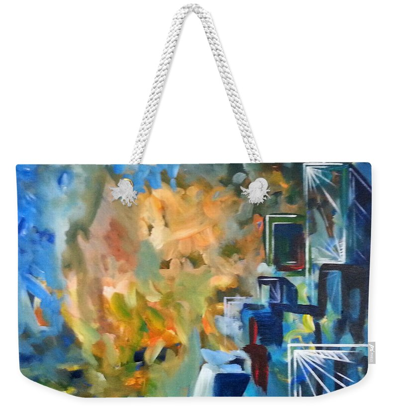 Contemporary Church Abstract Iconic Weekender Tote Bag featuring the painting Contemporary Church by Hamlet Al Kuti