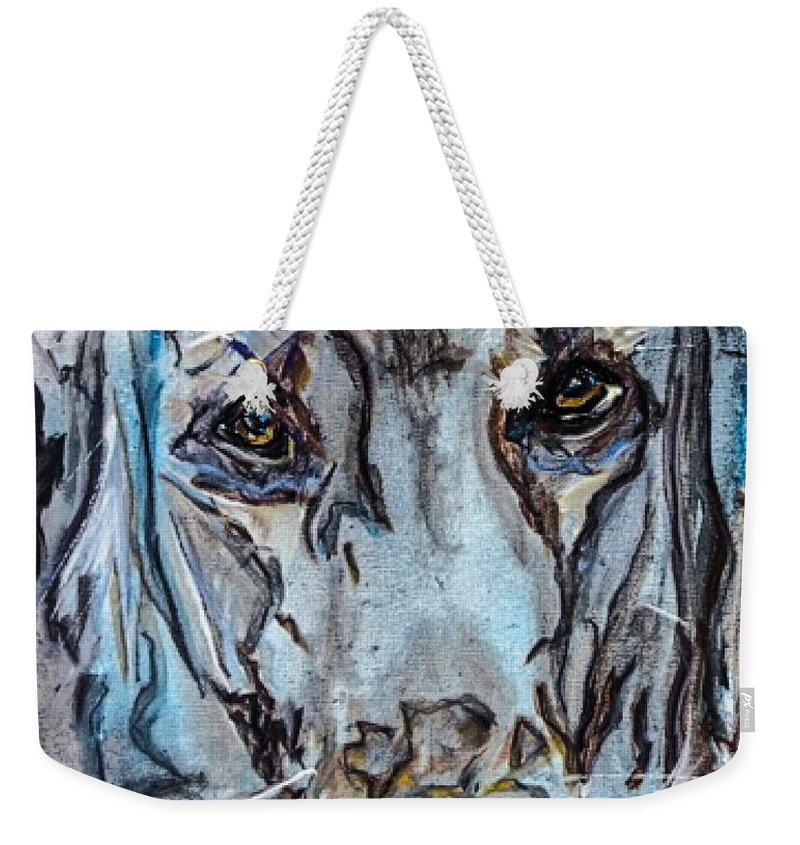 Golden Retriever Weekender Tote Bag featuring the painting Content by Paula Baker