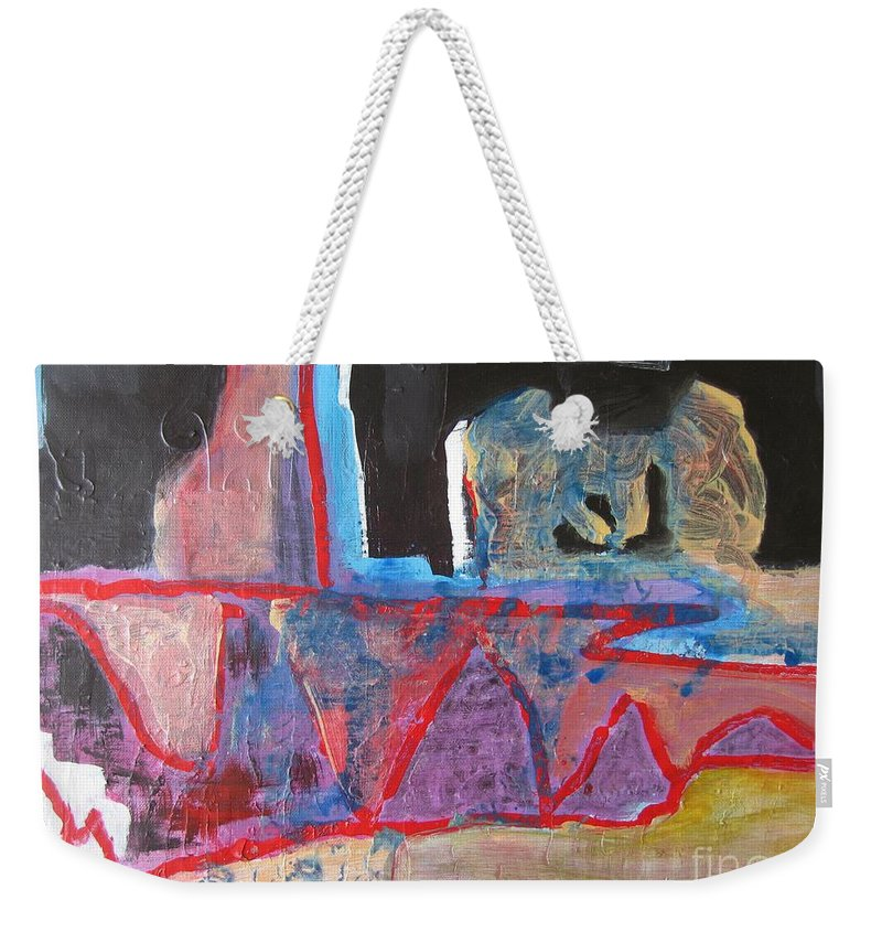 Abstract Paintings Weekender Tote Bag featuring the painting Contradiction Of Time by Seon-Jeong Kim