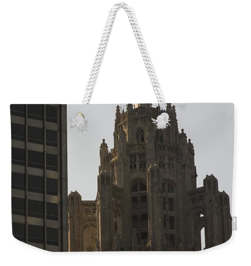 Chicago Windy City Tall Building High Big Skyscraper Metro Urban Weekender Tote Bag featuring the photograph Contrast by Andrei Shliakhau