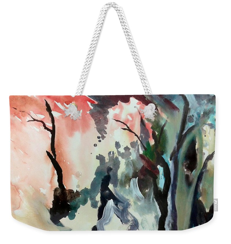 Contrasting Autumn Abstract Weekender Tote Bag featuring the painting Contrasting Autumn by Hamlet Al Kuti