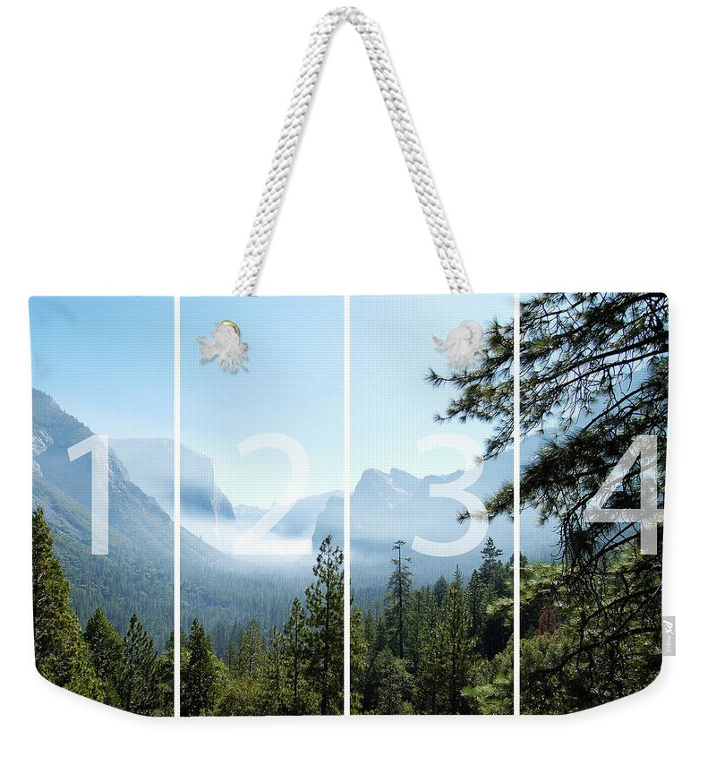 El Capitan Weekender Tote Bag featuring the digital art Controlled Burn Of Yosemite Panoramic Map by Michael Bessler