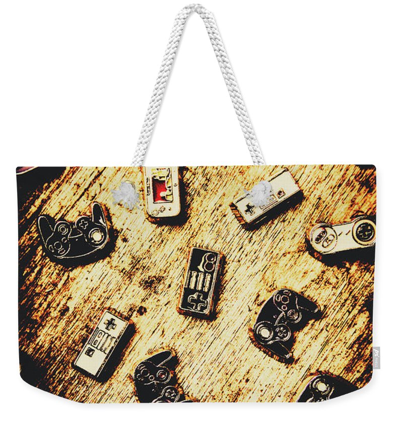 Control Weekender Tote Bag featuring the photograph Controllers Of Retro Gaming by Jorgo Photography - Wall Art Gallery